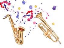 Musical wind instruments. Saxophone and trumpet. Isolated on white background. Watercolor illustration stock illustration