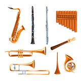 Musical wind instruments set, saxophone, clarinet, trumpet, trombone, tuba, pan flute vector Illustrations i on a white. Musical wind instruments set, saxophone Stock Photos