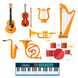 Musical wind, key or string vector instruments Royalty Free Stock Image