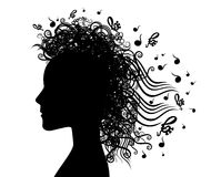 Musical woman face silhouette graphic background illustration Royalty Free Stock Image