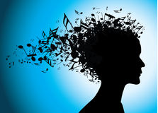 Musical woman portrait silhouette with notes Stock Photography
