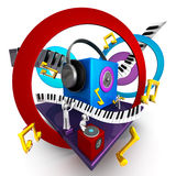 Musical world concept. Colorful musical world stage with speaker piano 3d illustration Stock Photography