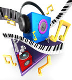 Musical world concept. Colorful musical world stage with speaker piano 3d illustration Royalty Free Stock Image