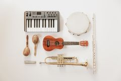 Musically speaking music instruments stock photography