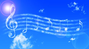Musicals notes. On the sky Royalty Free Stock Photos
