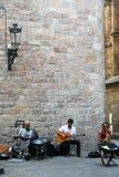 Musican小组在老巴塞罗那 库存图片