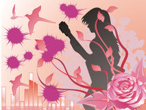 Musican girl in a pink rose. There is a musican girl is playing guitar. there are more little birds flying. there is a  pink rose Royalty Free Stock Images