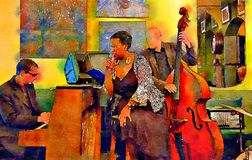 Musicans i jazzkafé Arkivbild