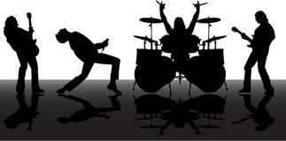 Musicans Schattenbilder Stockbilder