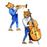 Musicants tirés par la main d'ours d'aquarelle Trompette et double basse Illustration sur le blanc illustration stock