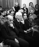 Musici die bij Aram Khachatryan-concertzaal presteren stock afbeelding