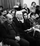 Musici die bij Aram Khachatryan-concertzaal presteren stock foto