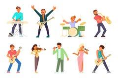 Musici en zangers vector vlakke pictogramreeks royalty-vrije illustratie