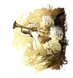 Musici, jongens en meisjes het zingen Vector illustratie Stock Afbeeldingen