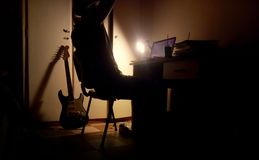 Musicial het schrijven muziek Stock Afbeeldingen