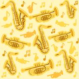Musicial-Instrumente Saxophon und Kornettmuster vektor abbildung