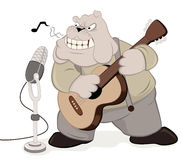 The musician. Illustration of a cartoon boxer dog as a musician/guitarist Royalty Free Stock Images