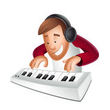 Musician. Happy man playing piano / isolated Stock Photo