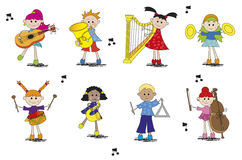 Musician. Illustration of children with different type of instrument Stock Images