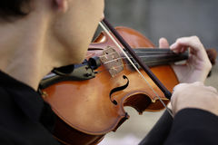 The musician. Image of a young man playing the violin Royalty Free Stock Photography