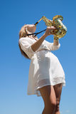 Musician against the sky Royalty Free Stock Photography