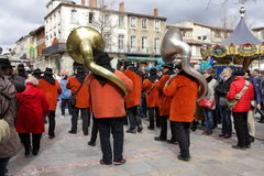 Musician band during Carnival of Limoux Royalty Free Stock Photos