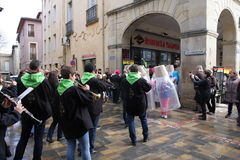 Musician band during Carnival of Limoux Stock Photos