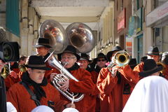 Musician band during Carnival of Limoux Royalty Free Stock Image
