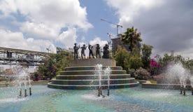 Musician band sculpture at the Azrieli Center, Tel Aviv, Israel. Tel Aviv, Israel - June 12, 2018: Musician band sculpture at the Azrieli Center, located between stock photography