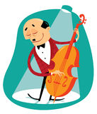 Musician with bass. Jazz musician playing the bass Vector Illustration