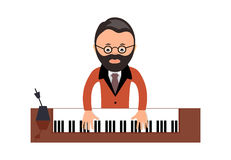 Musician behind a grand piano a vector illustration flat style Stock Photo
