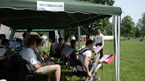 Musician bigband orchestra with bandleader play jazz stock footage