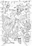 Musician. Black and white drawing of a fantasy eastern musician playing flute Stock Photo