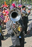 Musician in Bolivian Independence Day parade in Brazil Stock Photo
