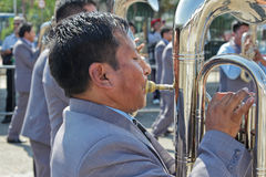 Musician in Bolivian Independence Day parade in Brazil Stock Photography