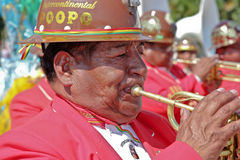 Musician in Bolivian Independence Day parade in Brazil Stock Images