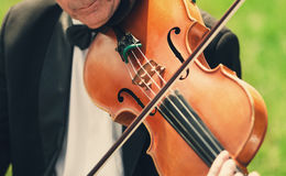Musician with bow tie plays violin outdoors Royalty Free Stock Image