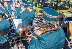 Musician brass band playing the trombone on a sunny day Stock Photos