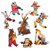 Musician cartoon animals Royalty Free Stock Photography