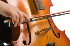 Musician with cello. Close up musician hands with cello Stock Images