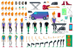 Musician Character Creation Constructor. Man in Different Poses. Male Person with Faces, Arms, Legs, Hairstyles Royalty Free Stock Photo