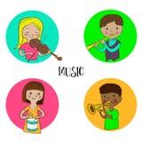 Musician children set of round icons. Violinist girl, flutist boy drummer and trumpeter kids. Musician children icons set. Funny cute kids with musical Stock Photo