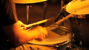 Musician in concert, hands playing the drums stock video