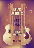 Musician concert show poster with acoustic guitar. Vector illustration. vector poster template. Printable concert promotion in bars, bars, public places Royalty Free Stock Images