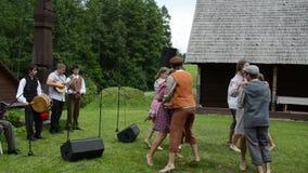 Musician dancer folklore stock footage