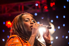 Musician Dela. Of Kenya performs with ther band during the Night of a Thousand Laughs held at the Carnivore Grounds in Nairobi, Kenya on June 7th, 2014 Stock Photos