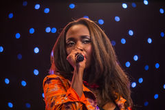 Musician Dela. Of Kenya performs with ther band during the Night of a Thousand Laughs held at the Carnivore Grounds in Nairobi, Kenya on June 7th, 2014 Royalty Free Stock Photos