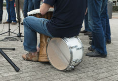 Musician with drum Stock Image