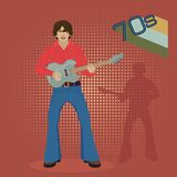 Musician with electric guitar on a red background, retro. 70s.Vector illustration vector illustration