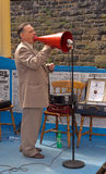 Musician entertaining the visitors. In 40's costume at the East Lancs Railway 40's weekend. Lancashire, UK stock images